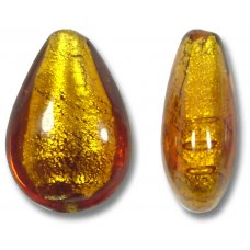 1 Murano Glass Topaz Gold Foiled Small Pear Drop