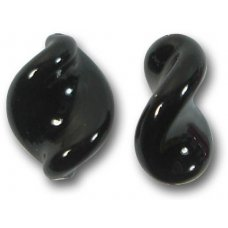 2 Murano Glass Black Elica Twist Beads