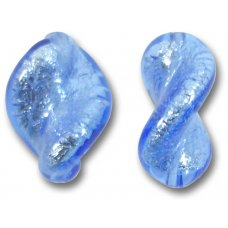 2 Murano Glass Sapphire Silver Foiled Elica Twist Beads
