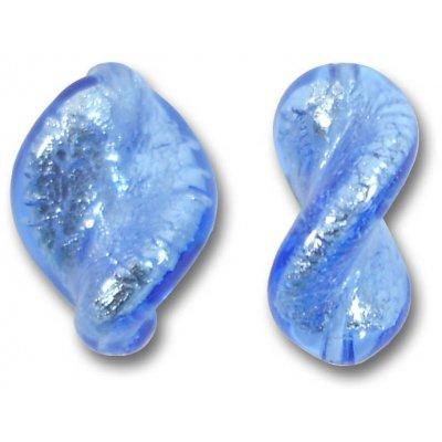2 Murano Glass Sapphire Silver Foiled Elica Twist Beads