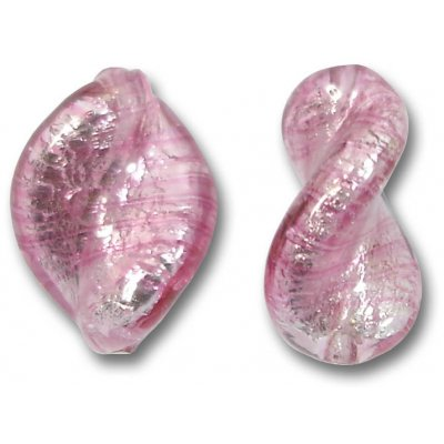 2 Murano Glass Rose Silver Foiled Elica Twist Beads