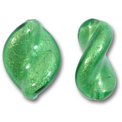 2 Murano Glass Emerald White Gold Foiled Elica Twist Beads