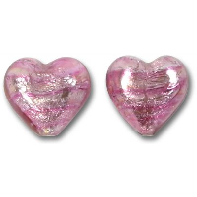 2 Murano Rose Silver Foiled 14mm Heart Beads