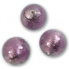 1 Murano Mid Amethyst Silverfoil 14mm Round Bead