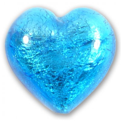 1 Murano Glass Dark Aquamarine Silver Foiled 28mm Heart