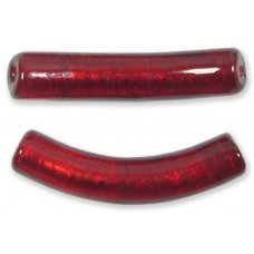 1 Murano Glass Curved Goldfoiled Macaroni Bead Ruby