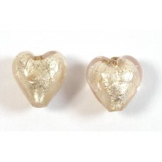 Pair Murano Glass Light Pink with White Goldfoil 10mm Hearts