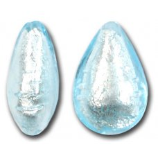 1 Murano Glass Light Aquamarine Silver Foiled Small Pear Drop