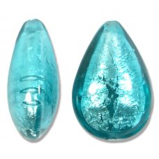 1 Murano Glass Verde Marino Silver Foiled Small Pear Drop