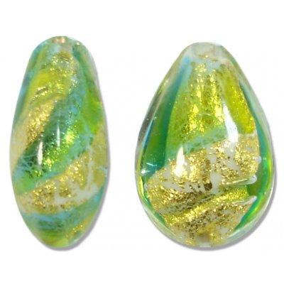 1 Murano 24kt Gold Foil Lime Aqua Small Pear Drop