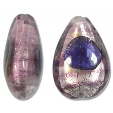 1 Murano White Gold Foiled Purple Amethyst Small Pear Drop