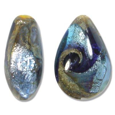 1 Murano Glass Tornado White Goldfoiled Small Pear Drop