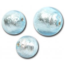 1 Murano Glass Silver Foiled Aquamarine 14mm Round Bead