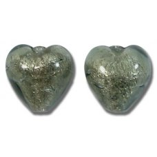 2 Murano Glass Gunmetal Grey White Goldfoil 10mm Hearts