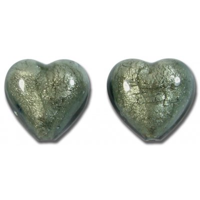 2 Murano Glass Gunmetal Grey White Goldfoil 14mm Hearts