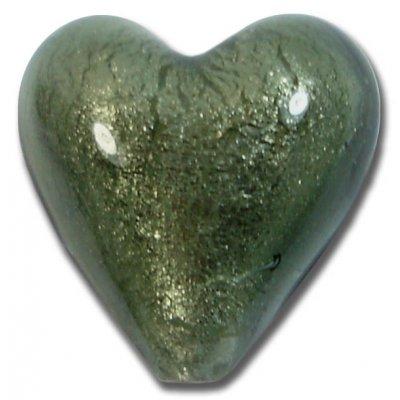 1 Murano Glass Gunmetal Grey White Goldfoil 20mm Heart