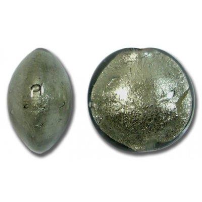 1 Murano Glass Gunmetal Grey White Goldfoil 14mm Lentil