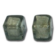 Pair Murano Glass Gunmetal Grey White Goldfoil 8mm Cube Beads