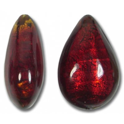 1 Murano Glass Dark Ruby Gold Foiled Small Pear Drop