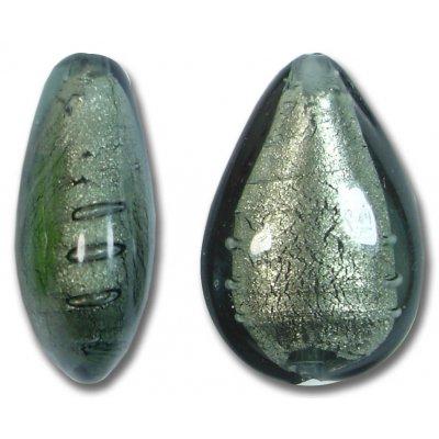 1 Murano Glass Gunmetal White Gold Foiled Small Pear Drop