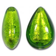 1 Murano Glass Erba Green Silver Foiled Small Pear Drop