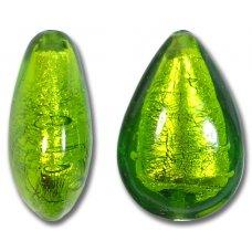 1 Murano Glass Erba Green Silver Foiled Small Pear Drop