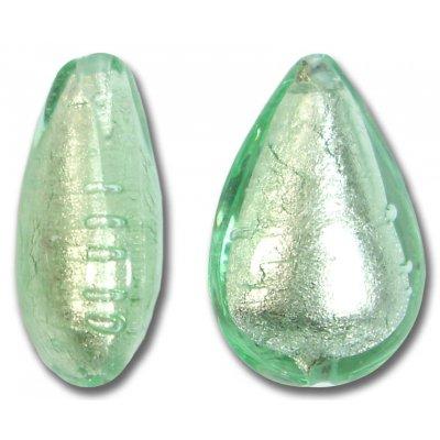 1  Murano Glass Verde Smeraldo Chiarissimo White Goldfoiled Small Pear Drop