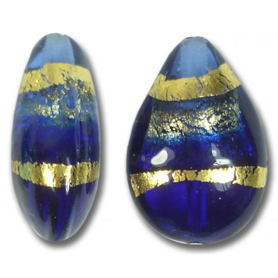 1 Murano Glass Sapphire Gold Foiled Band Small Pear Drop