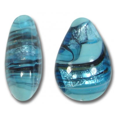 1 Murano Glass Turquoise Swish Small Pear Drop