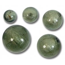 1 Murano Glass Gunmetal White Gold Foiled 14mm Round Bead
