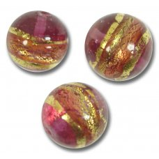 10 Murano Glass 10mm Ruby Gold Foiled Band Round Beads