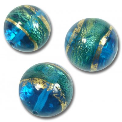 10 Murano Glass 8mm Turquoise Gold Foiled Round Beads