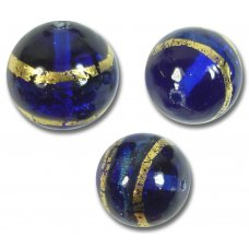 1 Murano Glass Sapphire Gold Foil Band 14mm Round Bead