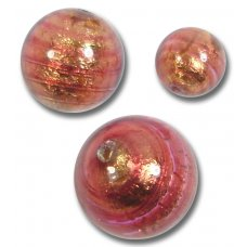 1 Murano Glass Rose Gold Foiled 14mm Round Bead