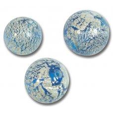 1 Murano Glass Crackle White Gold Foiled Aquamarine 12mm Round Bead