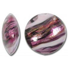 1 Murano Glass Rose Swish 20mm Lentil