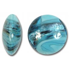 1 Murano Glass Turquoise Swish 20mm Lentil