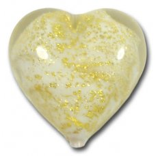 1  Murano Glass Crackle Goldfoil White 18mm Heart