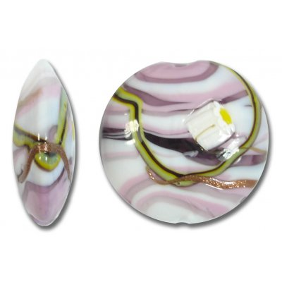 1 Murano Glass Medusa Rose 26mm Lentil Bead