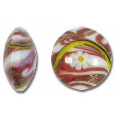 1 Murano Glass Medusa Ruby 24mm Lentil Bead