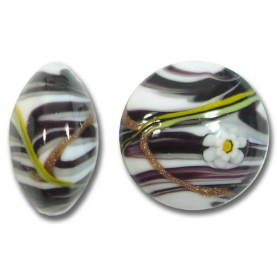1 Murano Glass Medusa Black 24mm Lentil Bead