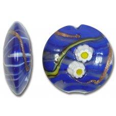 1 Murano Glass Medusa Sapphire 26mm Lentil Bead