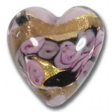 1 Murano Glass Amore Rose Goldfoil & Aventurine Cased 20mm Heart
