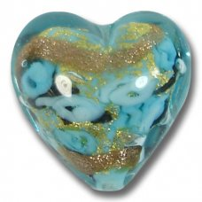 1 Murano Glass Amore Turquoise Goldfoil & Aventurine Cased 20mm Heart