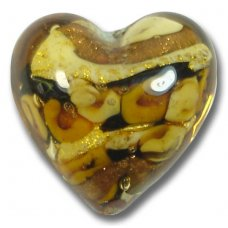 1 Murano Glass Amore Topaz Goldfoil & Aventurine Cased 20mm Heart
