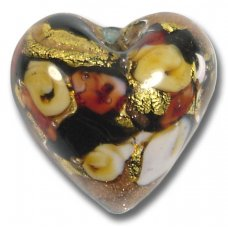 1 Murano Glass Amore Black Goldfoil & Aventurine Cased 20mm Heart