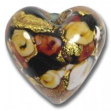 1 Murano Glass Amore Black Goldfoil & Aventurine Cased 20mm Heart