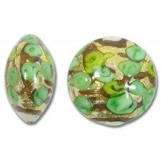 1 Murano Glass Amore Verde Goldfoil & Aventurine 22mm Lentil