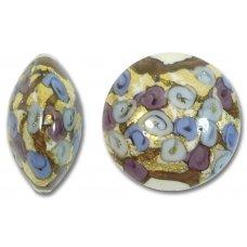 1 Murano Glass Amore Sapphire Goldfoil & Aventurine 22mm Lentil