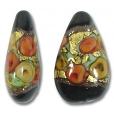 1 Murano Glass Amore Black Goldfoil & Aventurine 21mm Drop